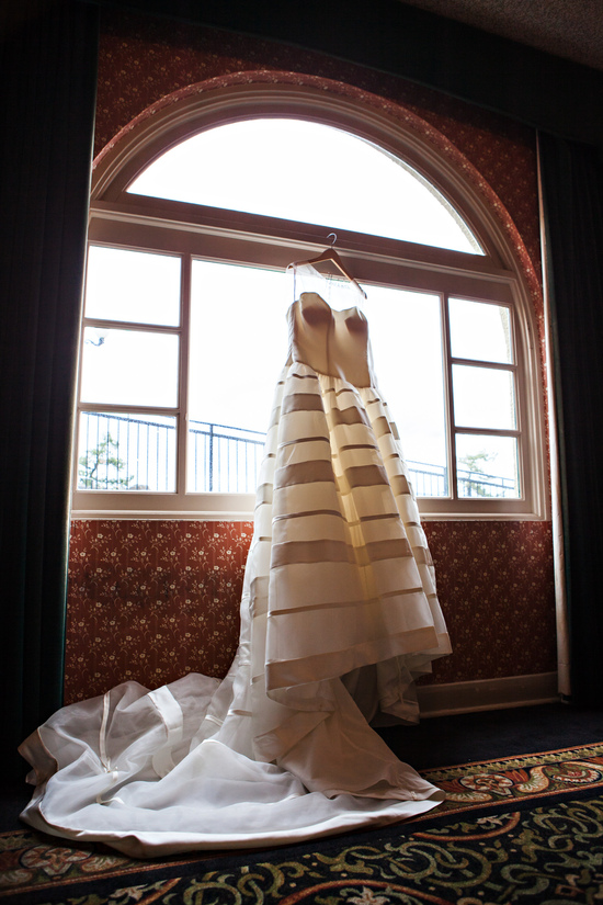 Ivory sweetheart wedding dress with sophisticated stripes on skirt