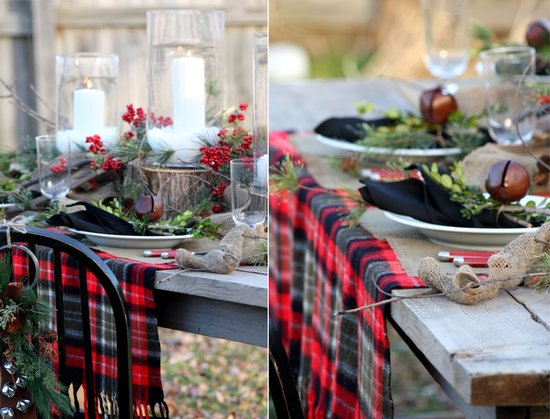red green black holiday wedding tablescape outdoo wedding venue