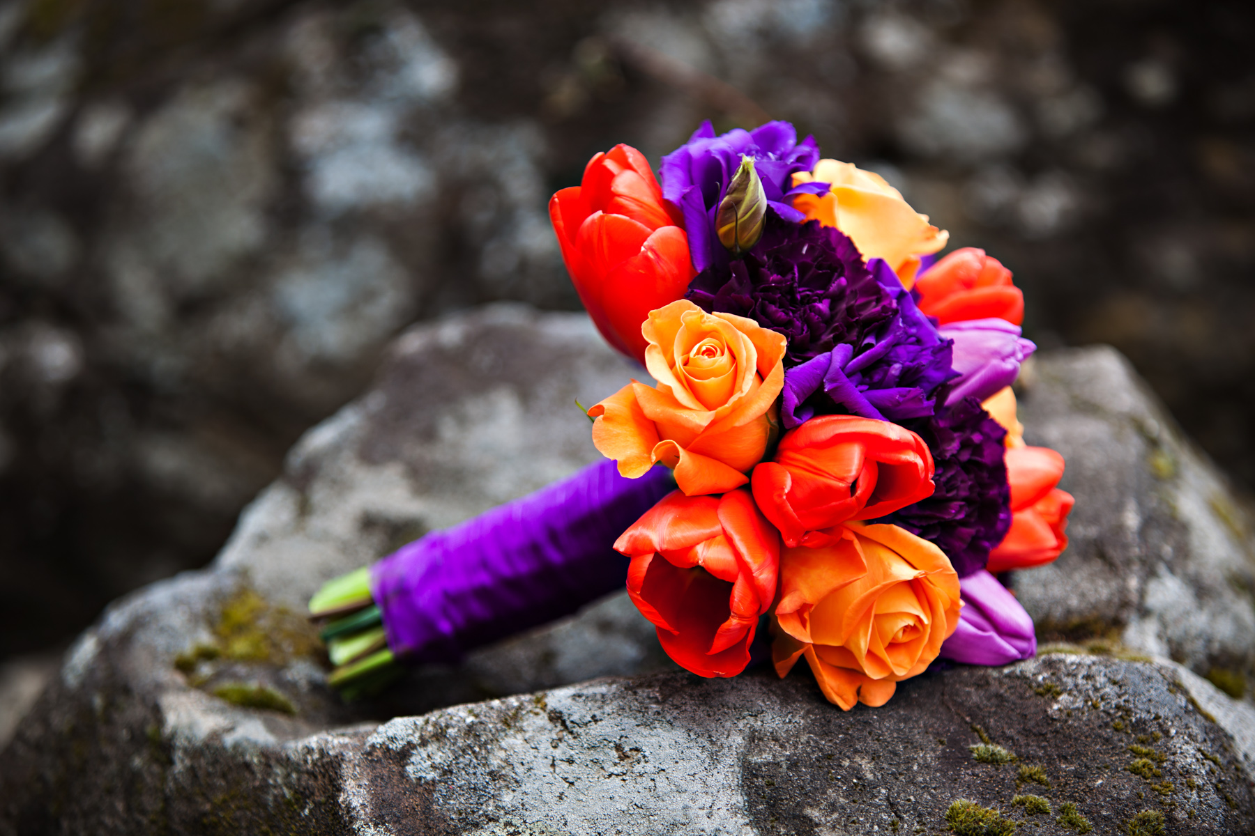 Purple and orange bright wedding bouquet   OneWed.com