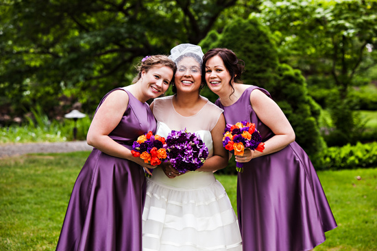 Purple and orange bright wedding bouquet