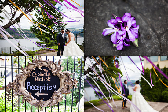 Purple and orange tropical wedding style