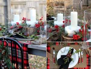photo of outdoor winter wedding tablescape plaid red berries