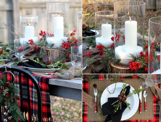 outdoor winter wedding tablescape plaid red berries