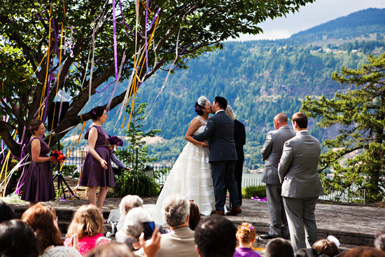 Oregon bride in birdcage veil
