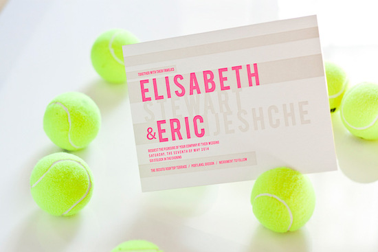 Modern Neon Wedding Invitations Hot Pink Ivory Ecru