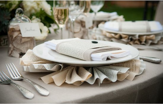 recycled paper wedding reception table decor