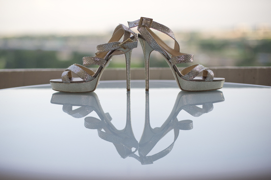 Silver Jimmy Choo strappy wedding shoes