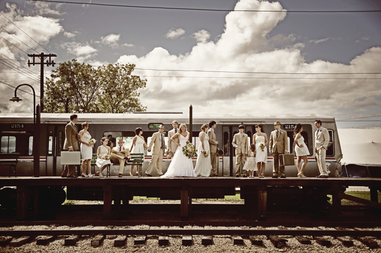 Vintage wedding party photo train