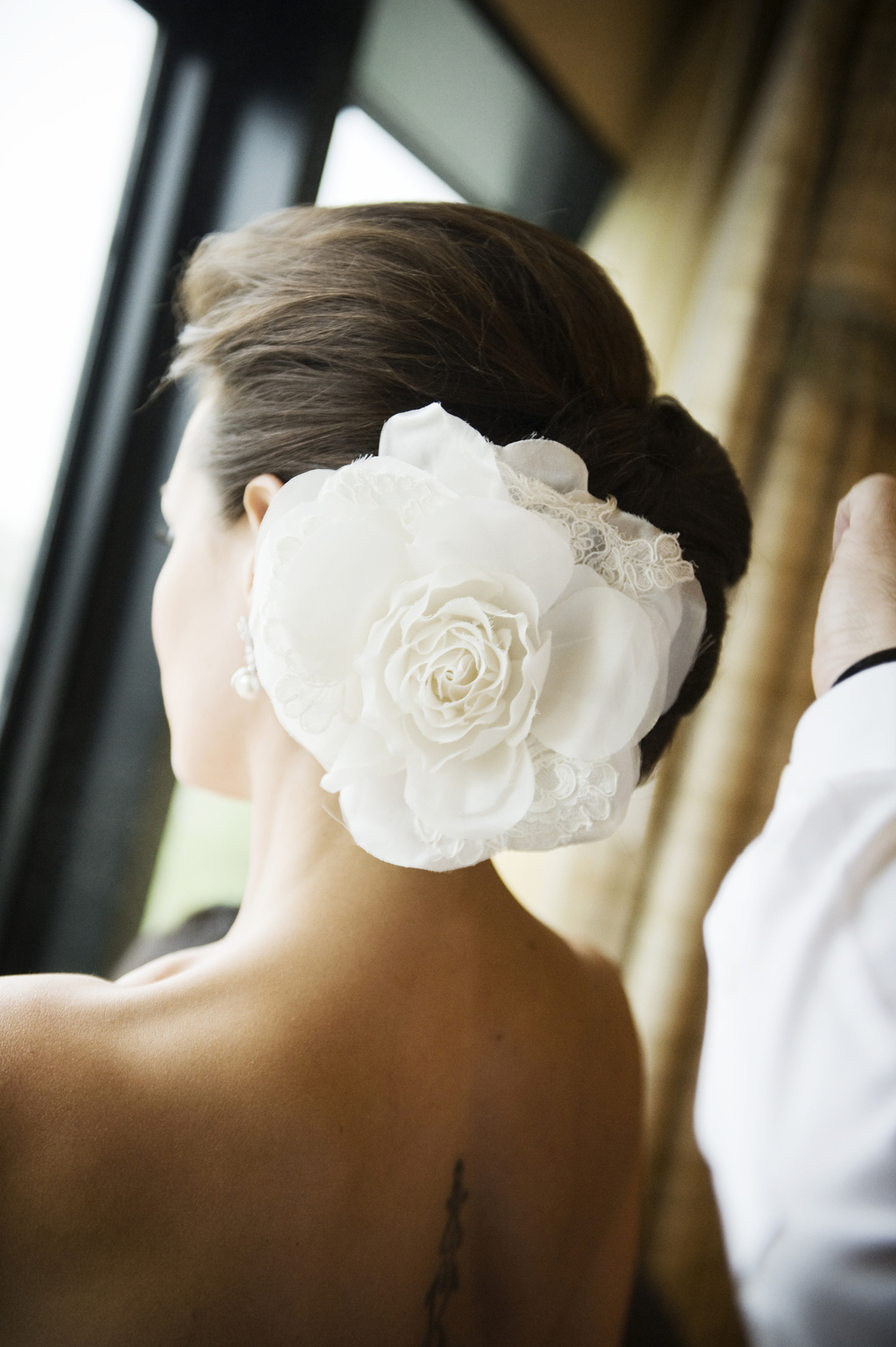 Large silk and lace wedding hair flower