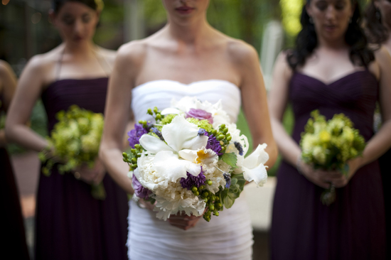 Beautiful summer wedding bouquet in white purple and green