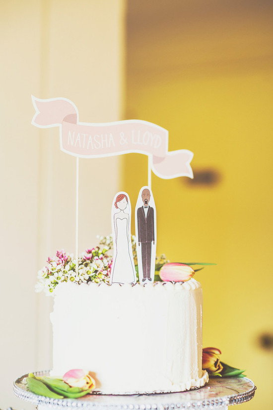 Romantic San Diego Wedding in Summer pink wedding cake topper