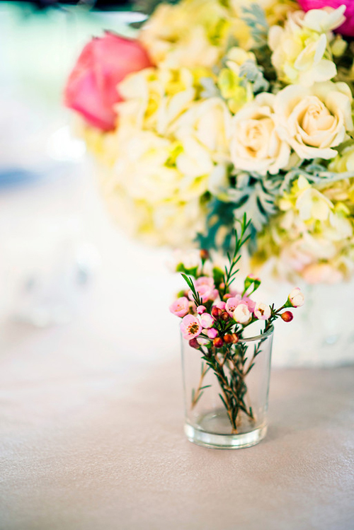 Pale yellow and bright pink wedding flowers