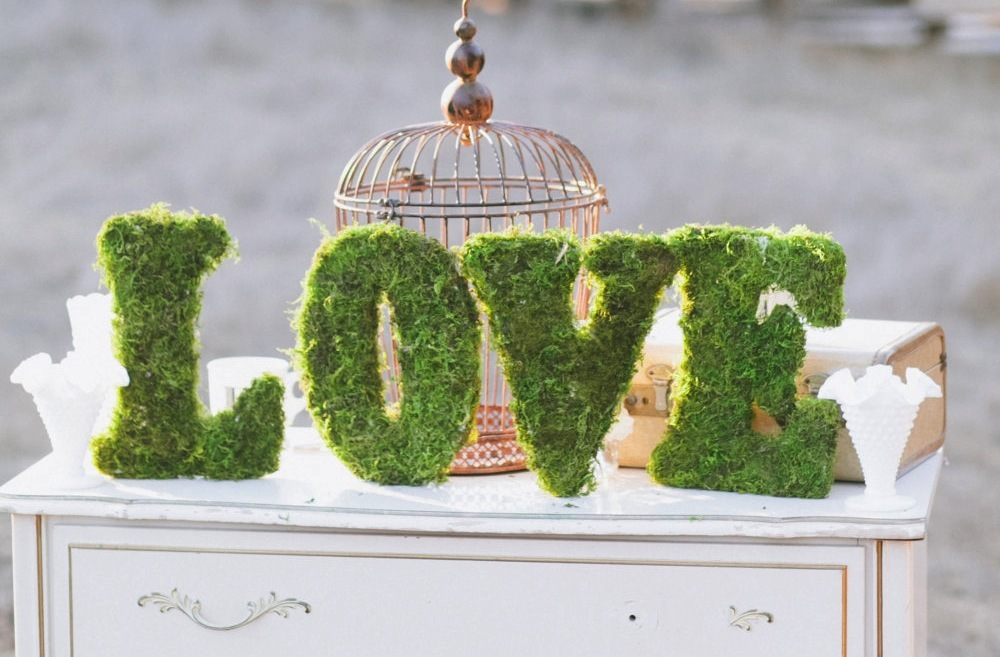Love themed wedding ideas Moss Reception Sign