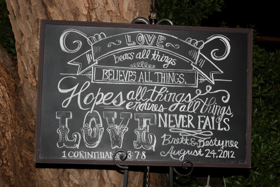 Rustic love chalkboard wedding sign