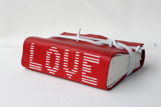Red and white leather wedding guest book