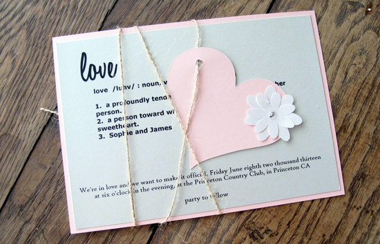 Pastel love themed wedding invitation