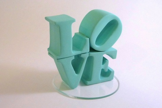 Stacked Love Aqua Wedding Cake Topper