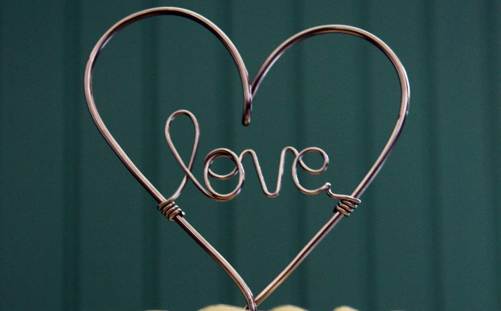 Wire Love wedding cake topper