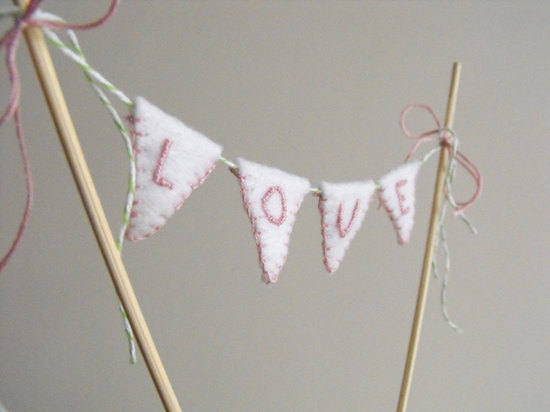 Handmade Love bunting wedding cake topper