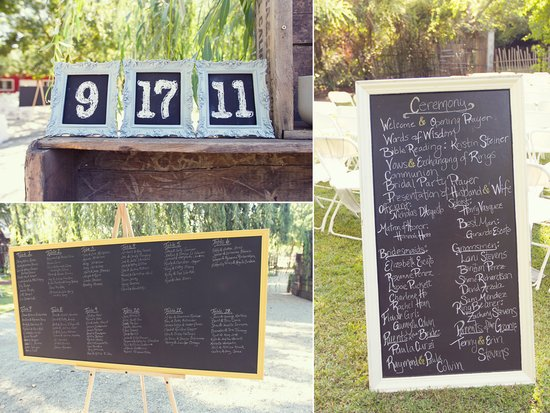 photo of chalkboard chic wedding ceremony decor