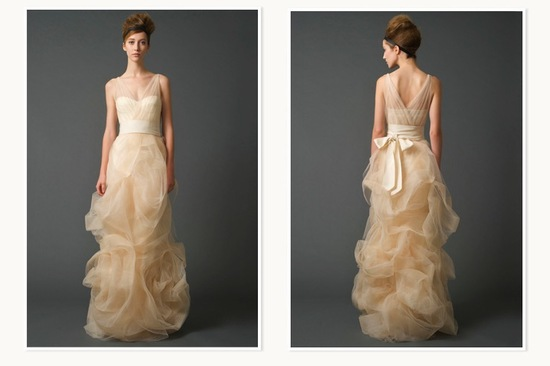 Creamy peach Vera Wang Bridal Gown for Nordstrom Wedding Suite