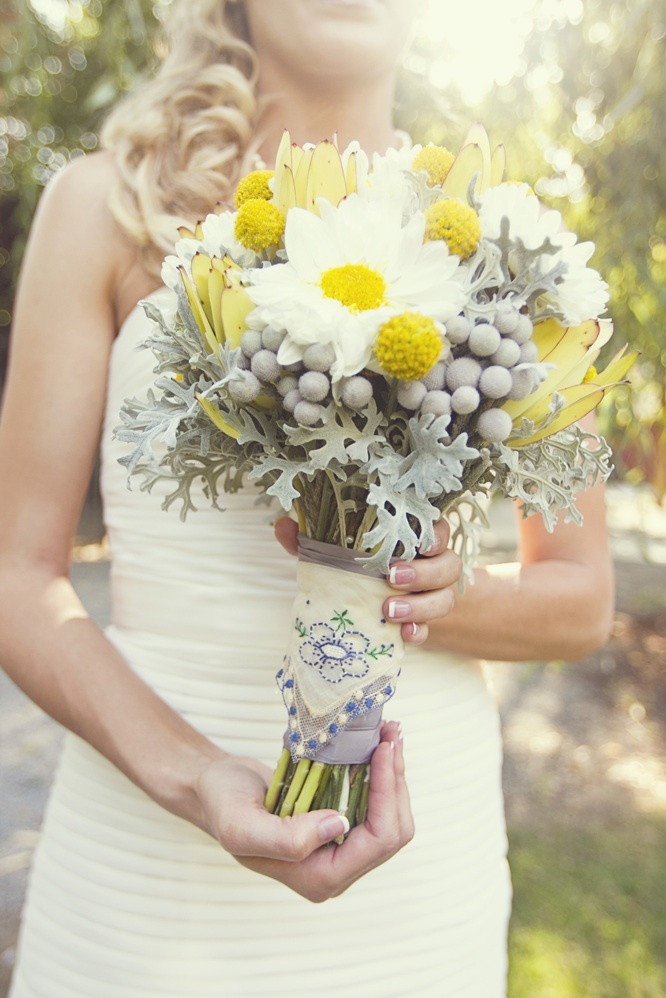 photo of yellow white bridal bouquet