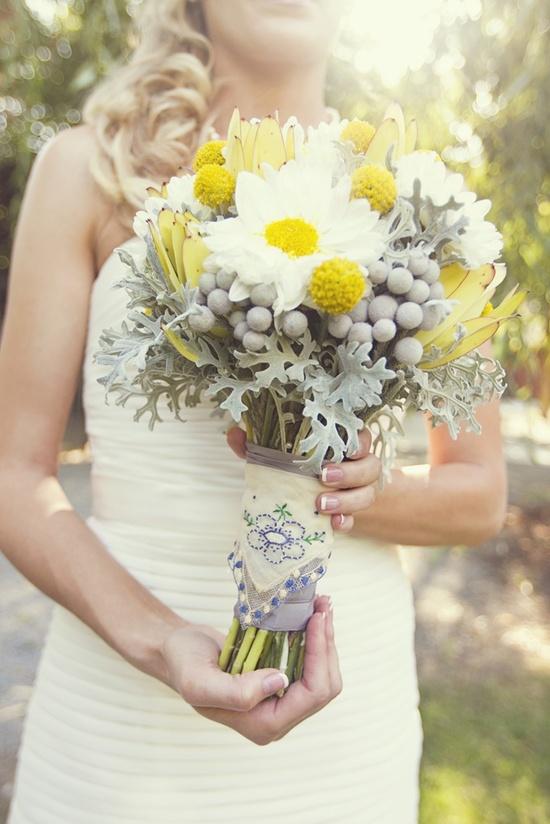 photo of yellow white bridal bouquet