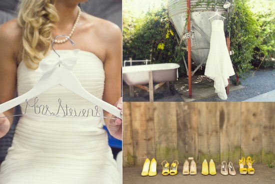 ivory wedding dress yellow bridesmaids shoes