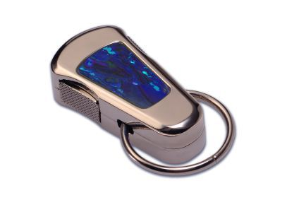 POLISHED STEEL STAYCLIP - BLUE SHELL INLAY