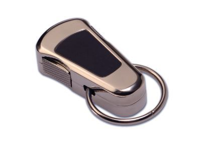 POLISHED STEEL STAYCLIP - BLACK ENAMEL INLAY