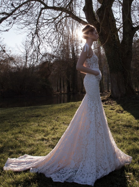Lace mermaid wedding dress with pockets