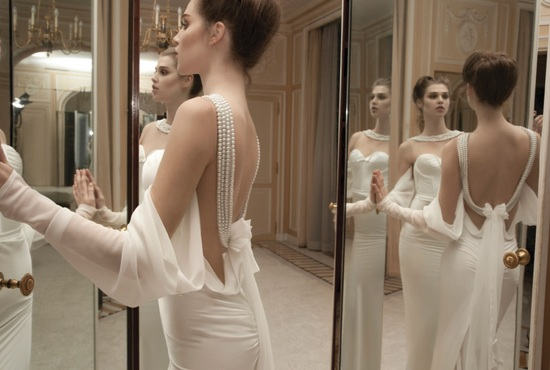 Pearl draped back wedding dress 2013 brides