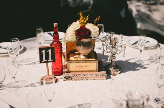 white red wedding flowers centerpieces crystals