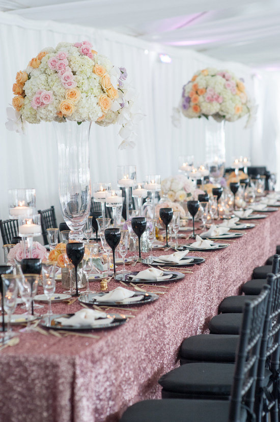 romantic floral topiaries with pink sparkly table runner