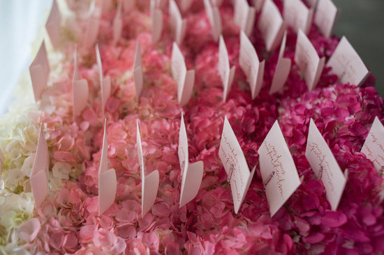 Pink and ivory ombre wedding escort display