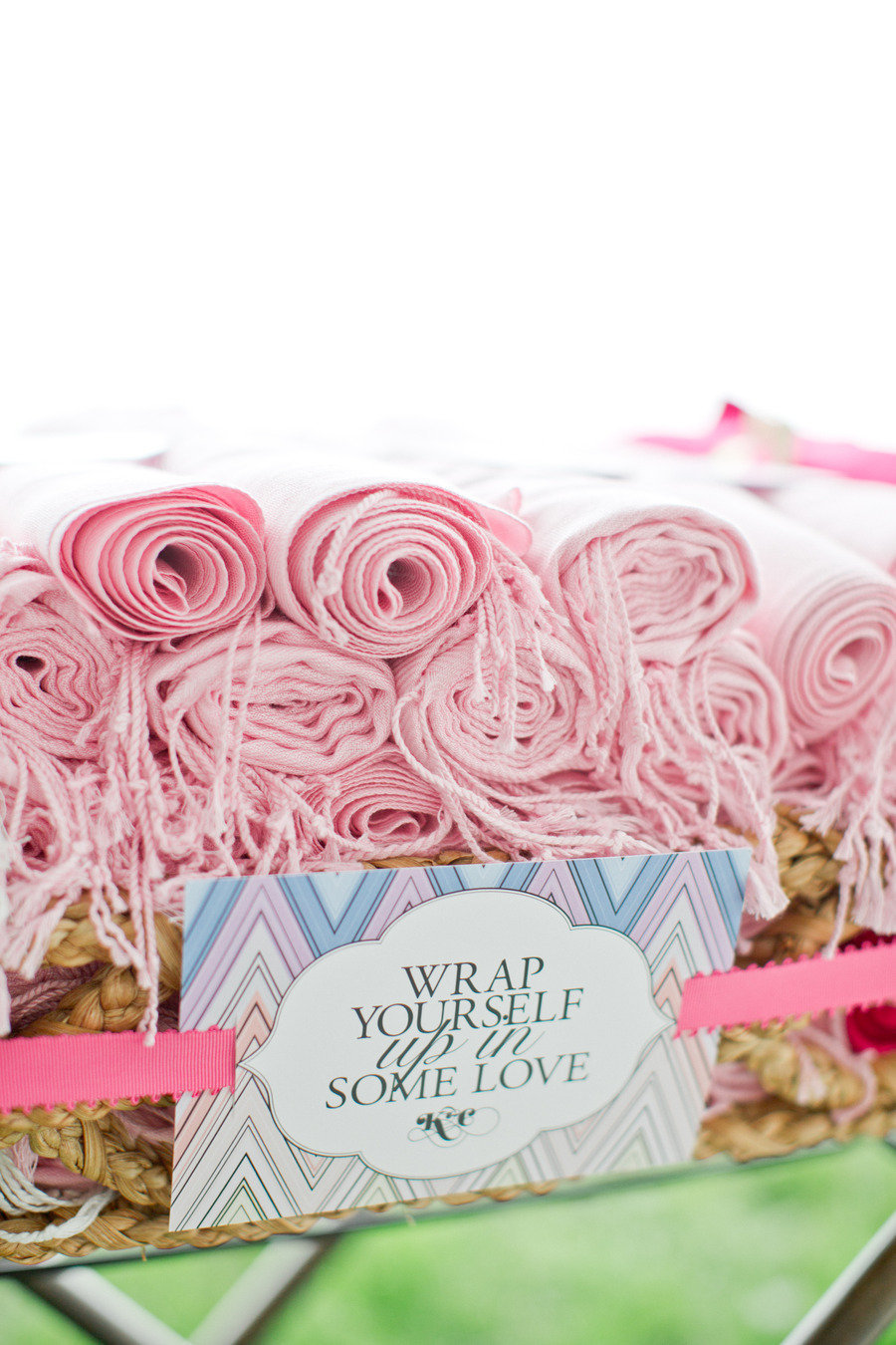 pashmina wedding favors in shades of pink