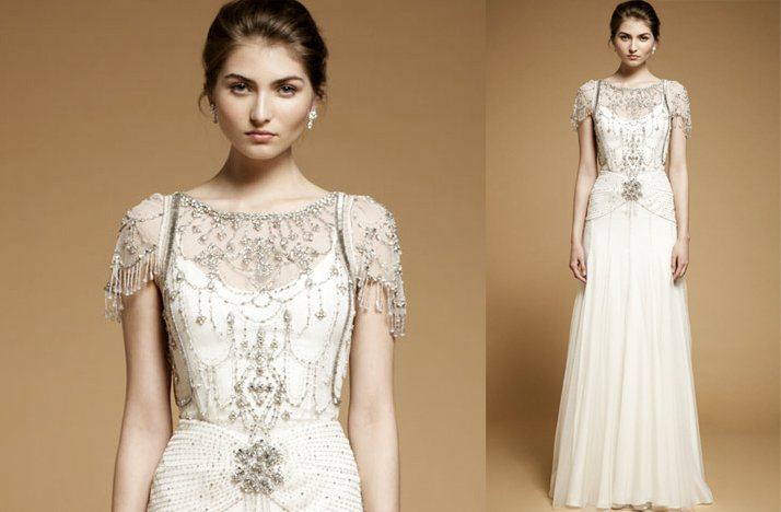 Vintage-inspired 2012 bridal gown with embellished cap sleeves