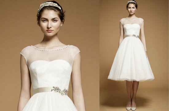 Little white wedding reception dress with sheer cap sleeves by Jenny Packham, 2