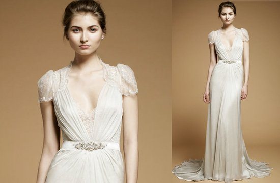 Little white wedding reception dress with sheer cap sleeves by Jenny Packham