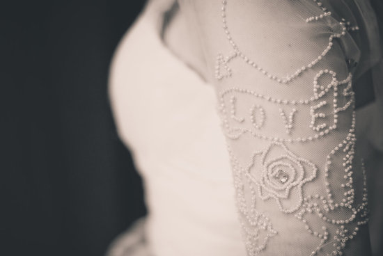 Sheer tulle wedding dress sleeves beaded with Love