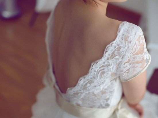 White lace cap sleeve wedding dress with low back