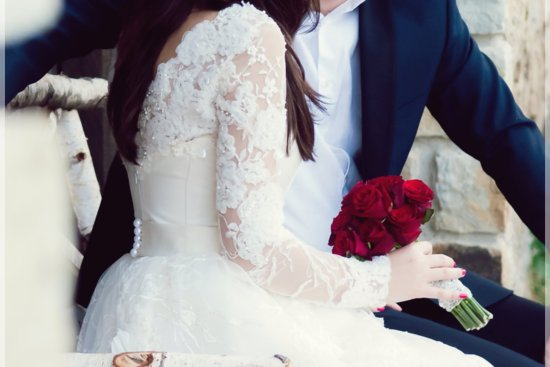 Long lace sleeved classic wedding dress