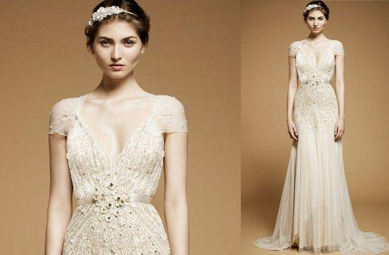 photo of vintage inspired wedding dress 2012 jenny packham cap sleeves