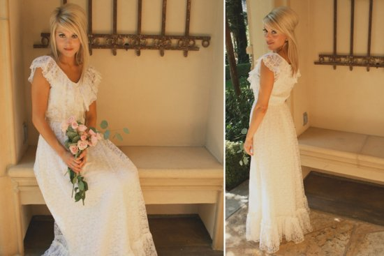 Vintage bohemian lace cap sleeve wedding dress