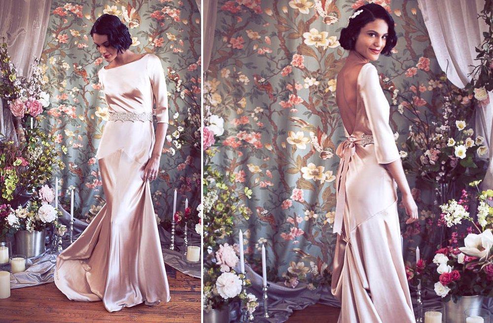Blush-pink-silk-wedding-dress-with-three-quarter-length-sleeves.full