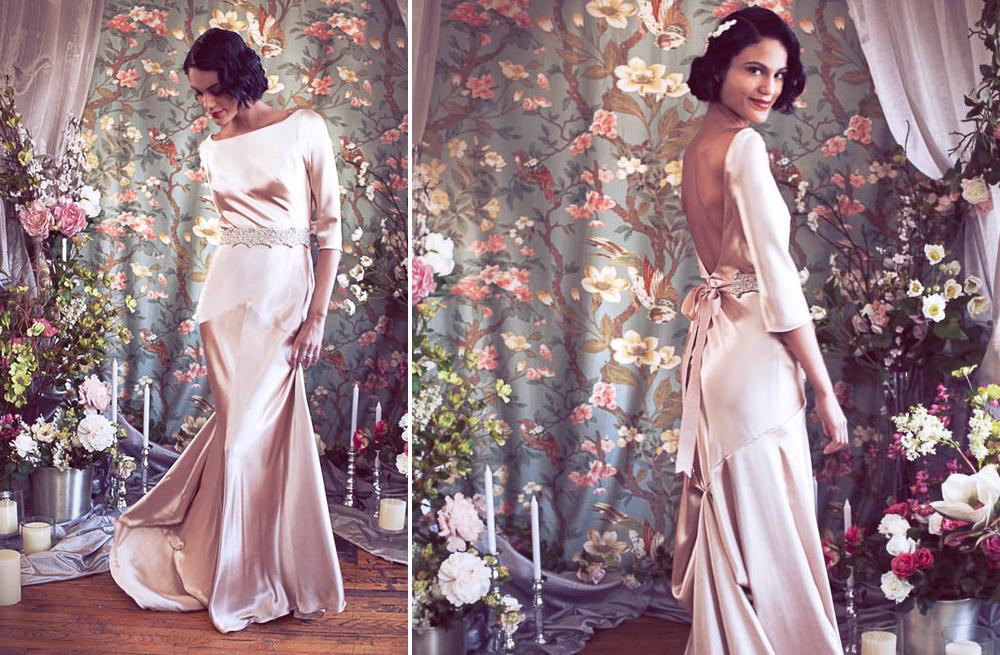 Blush pink silk wedding dress with three quarter length for Wedding dresses with three quarter length sleeves
