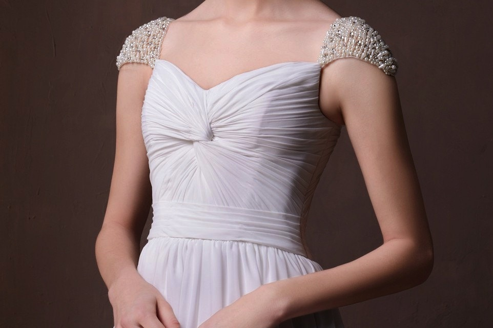 Pearl And Crystal Beaded Cap Sleeves On Chiffon Wedding Dress
