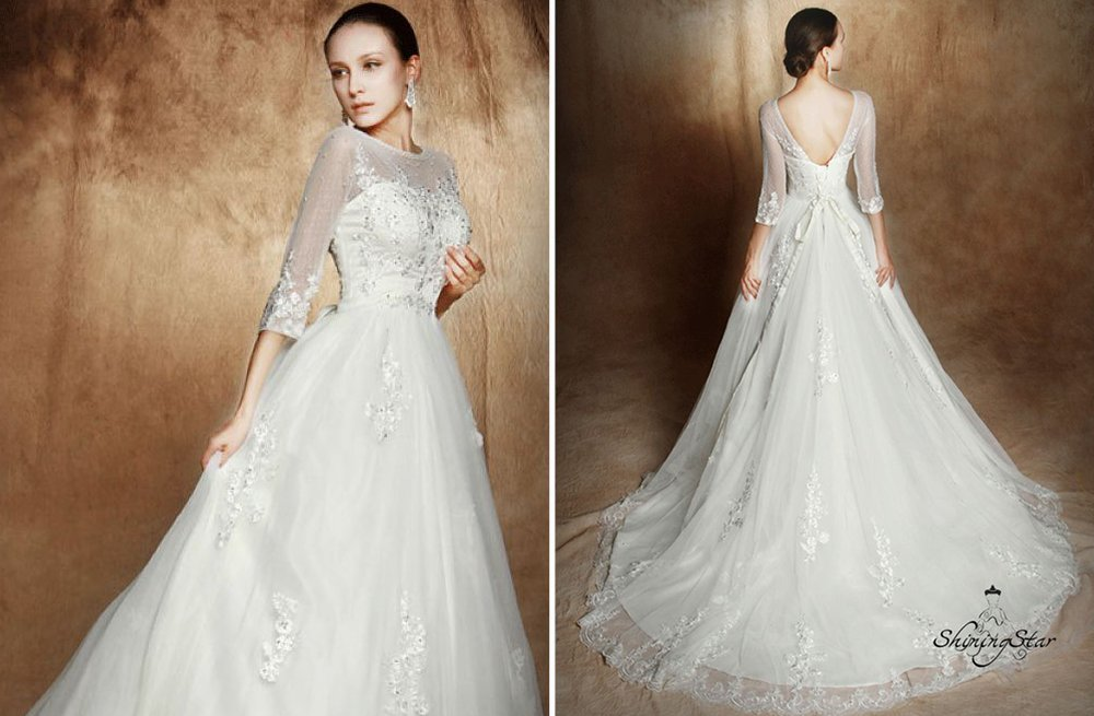 Classic A Line Wedding Dress With Sheer Sleeves And Necklines