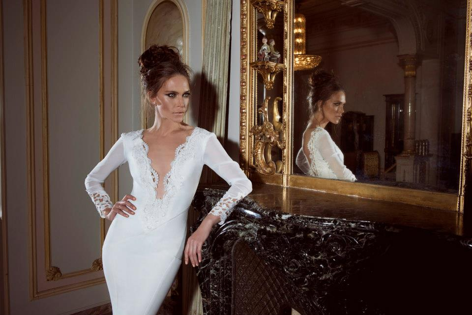 Plunging neckline sleeved wedding dress with lace for Plunge neck wedding dress