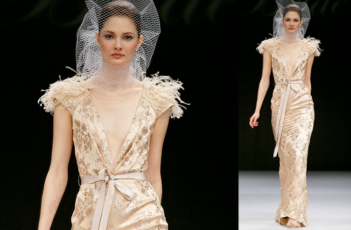 Nude 2012 wedding dress by Badgley Mischka with feather-embellished cap sleeves